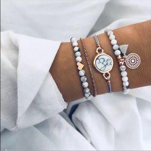 Boho marble beaded bracelet set tassel zen charm